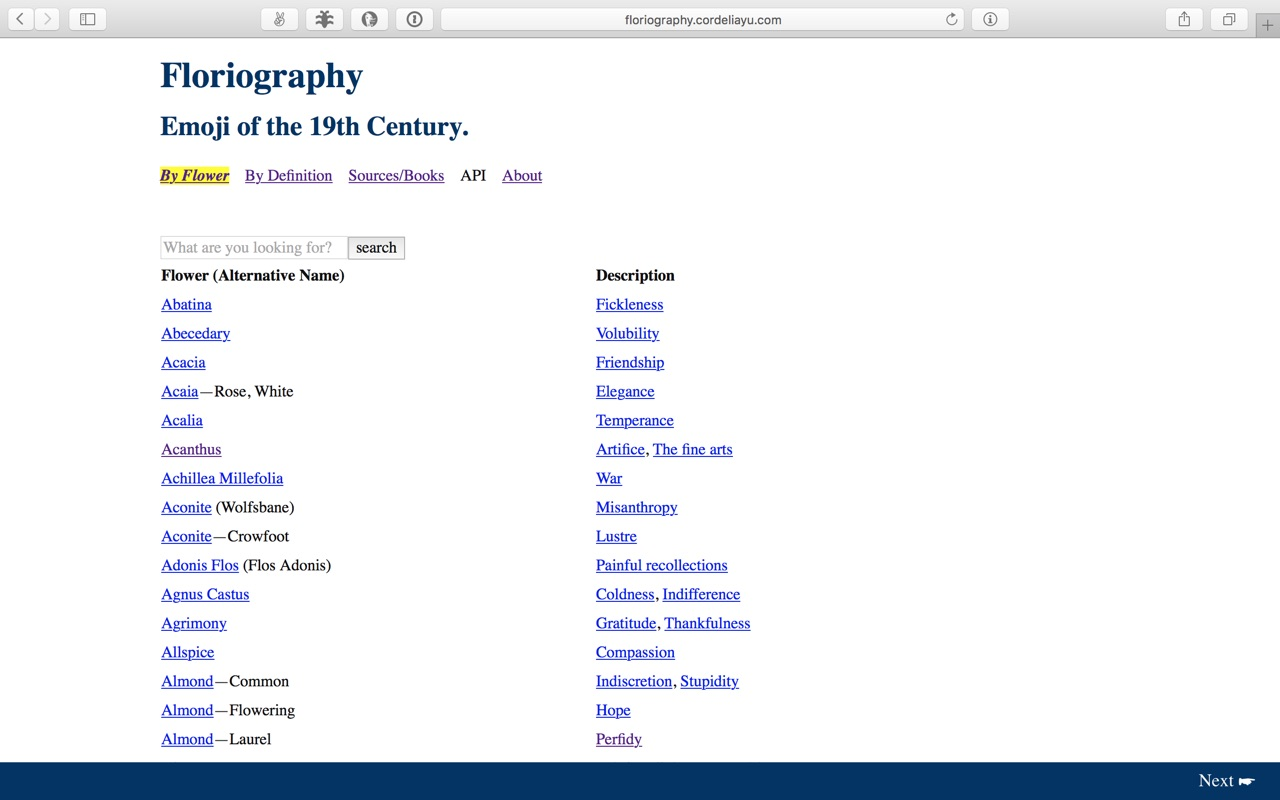 A screenshot of the Floriography web app